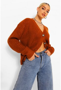 Rust orange Rib Knit Oversized Boyfriend Cardigan
