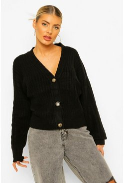 Black Rib Knit Boyfriend Cardigan