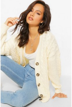 Cream Contrast Sleeve Cable Knit Boyfriend Cardigan