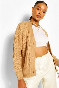 Camel beige Chunky Cable Button Through Cardigan