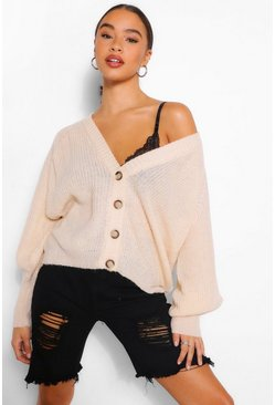 Stone beige Balloon Sleeve Button Through Cardigan