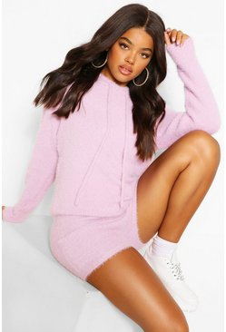 Lilac purple Premium Fluffy Knit Hoody