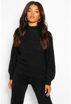 Black Premium Fluffy Knit Balloon Sleeve Jumper