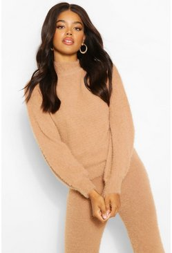 Camel beige Premium Fluffy Knit Balloon Sleeve Jumper