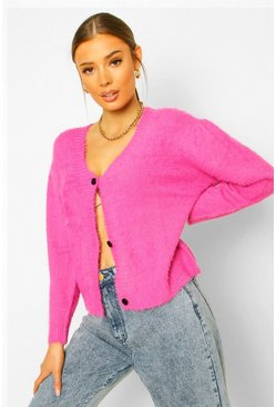 Hot pink pink Premium Fluffy Puff Shoulder Cardigan