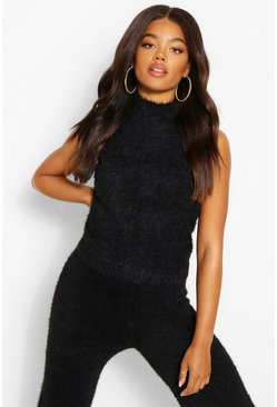 Black svart Fluffy Yarn Knitted Top