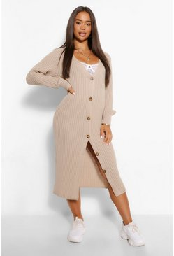 Stone Rib V Neck Button Through Midi Dress