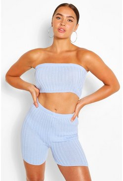 Blue Rib Knit Cycling Shorts Co-ord