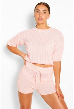 Ensemble top en maille côtelée et short, Blush rose