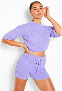 Lilac purple Rib Knit Top & Shorts Co-ord