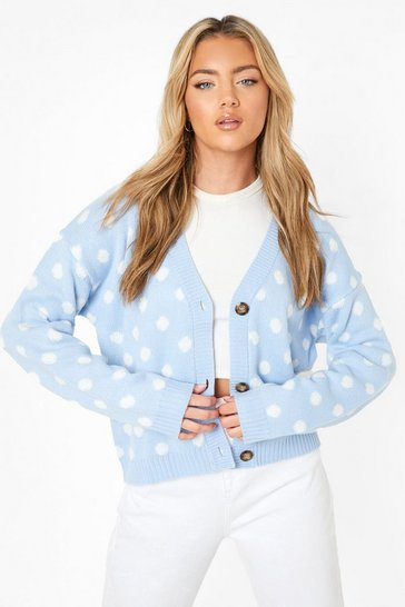 Blue Polka Dot Cardigan