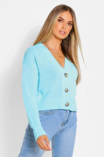 Turquoise Chunky Knit Crop Cardigan