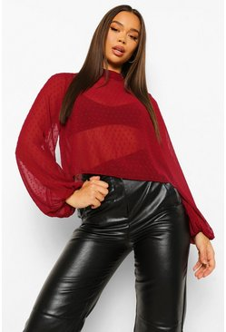 Berry red Dobby Mesh Funnel Neck Blouse