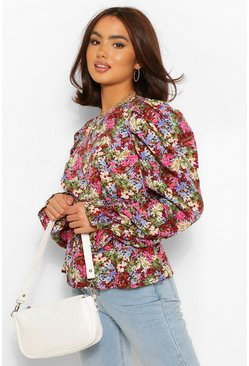 Berry red Woven Floral Puff Sleeve Top