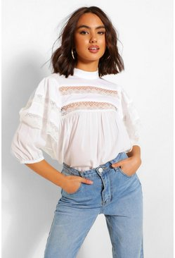 White Lace Trim Layered Sleeve Smock Top