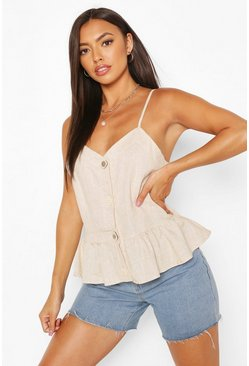 Cream white Button Detail Woven Peplum Cami Top