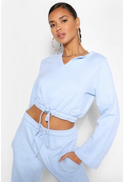 Blue MIX AND MATCH TIE FRONT CROP SWEAT