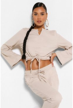 Stone beige MIX AND MATCH TIE FRONT CROP SWEAT
