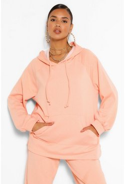 Apricot nude Mix And Match Side Split Oversized Hoodie