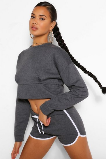 Charcoal MIX AND MATCH CROP SWEATER