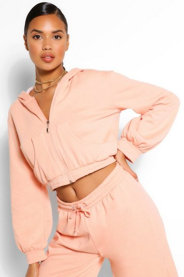 Apricot MIX AND MATCH POCKET DETAIL CROP HOODY