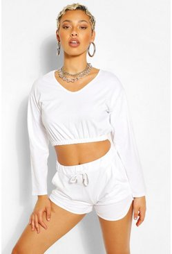 White V NECK CROP SWEATER AND SHORT SET