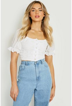 White RUCHED FRONT WOVEN PUFF SLEEVE BLOUSE