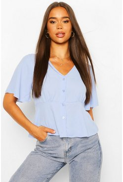 Cornflower WOVEN ANGEL SLEEVE PEPLUM BLOUSE