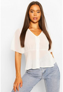 White WOVEN ANGEL SLEEVE PEPLUM BLOUSE
