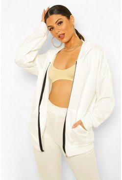 Ecru white Basic Oversized Zip Through Hoodie