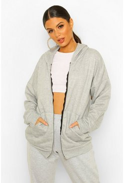 Grey marl Basic Oversized Zip Through Hoodie