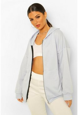 Pale blue blue Basic Oversized Zip Through Hoodie