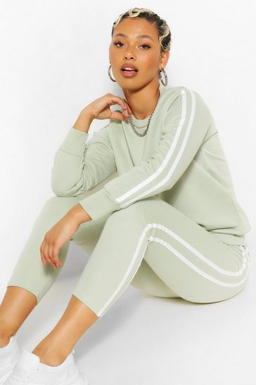 Light khaki khaki Side Stripe Sweat Jogger Set