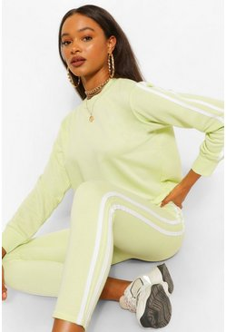 Lime Side Stripe Sweat Jogger Set