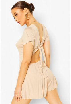 Stone Jersey Cap Sleeve Tie Back Playsuit