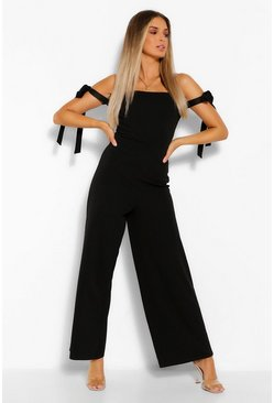 Black Off The Shoulder Tie Detail Wide Leg Jumpsuit