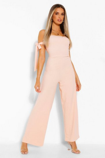 Blush Off The Shoulder Tie Detail Wide Leg Jumpsuit
