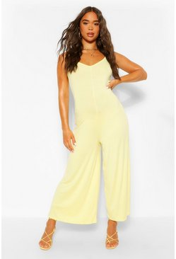 Lemon yellow Cross Back Strappy Culotte Jumpsuit
