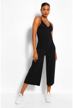 Black Ribbed Strappy Culotte Jumpsuit
