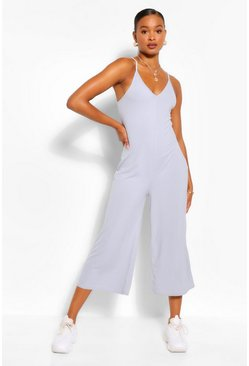 Grey Ribbed Strappy Culotte Jumpsuit