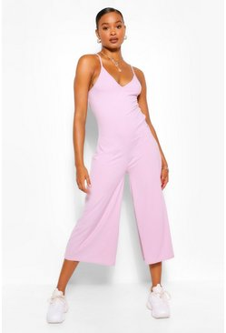 Lilac purple Ribbed Strappy Culotte Jumpsuit