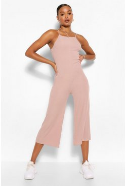 Grey High Neck Ribbed Culotte Jumpsuit