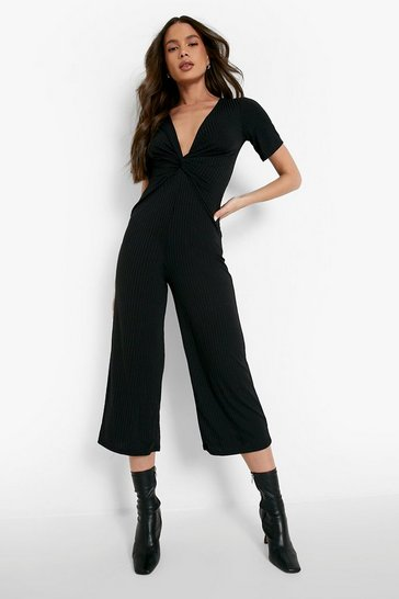 Black Ribbed Twist Front Culotte Jumpsuit