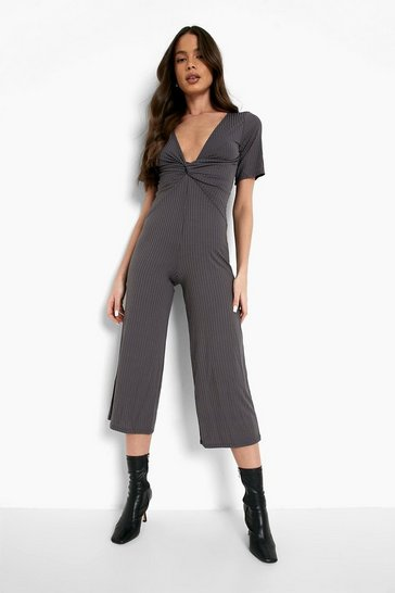 Charcoal grey Ribbed Twist Front Culotte Jumpsuit