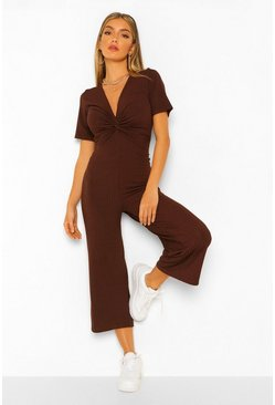 Chocolate brown Ribbed Twist Front Culotte Jumpsuit