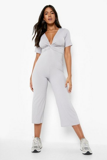 Grey Ribbed Twist Front Culotte Jumpsuit