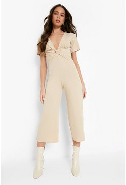 Stone beige Ribbed Twist Front Culotte Jumpsuit