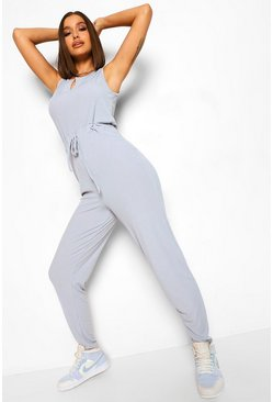 Grey Ribbed Notch Neck Sleeveless Casual Jumpsuit