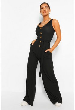 Black Horn Button Ribbed Tie Belted Jumpsuit