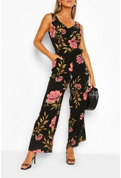 Black Floral Print Split Hem Sleeveless Jumpsuit